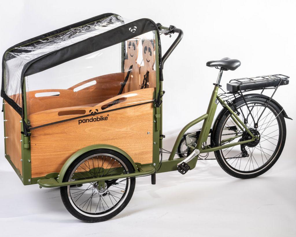 greenbike pesaro-cargo bike elettrico-Pandabike-cappottina Minivan